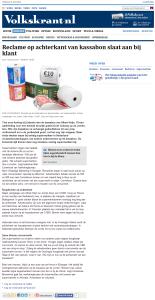 Volkskrant - Reclame op achterkant van kassabon slaat aan bij klant